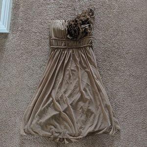 One Shoulder Taupe Dress